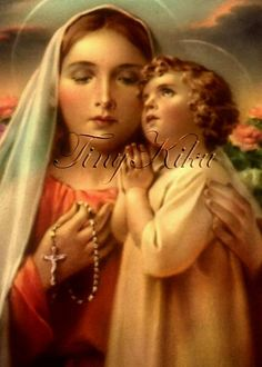 The Blessed Mother and Child Jesus. Blessed Mother Mary, Divine Mother, Blessed Virgin Mary, Lady Madonna, Madonna And Child, Religious Pictures, Jesus Pictures, Vintage Holy Cards, Vintage Images
