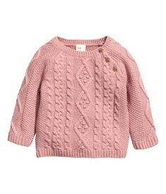 Old rose. Jumper in a soft knit containing some wool with cable-knit sections and buttons on one shoulder. Baby Sweater Knitting Pattern, Cable Knit Jumper, Baby Knitting, Girls Sweaters, Fashion Kids, Knitwear, Pullover, Clothes, Buttons