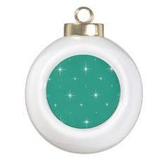 Green & Bright Stars. Sparkles Christmas Ornaments
