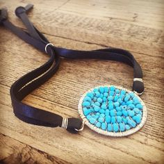 Sleeping beauty turquoise and leather bracelet now available in the shop!