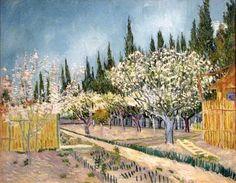 Orchard delimitato da cipressi 1888