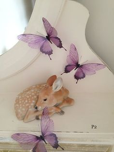 3 3D Exotic Lilac Butterflies Butterfly Wall Art Mirror Furniture Gift Bag P2 | eBay