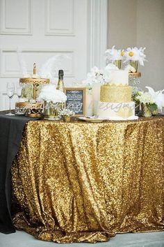 Sequin Linens Tablecloth Runner Overlay Wedding Event Party Anniversary Shower Bridal Reception Glit