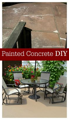 Our concrete patio was worn, cracked and faded after years of use. We painted the cement with Benjamin Moore Floor and Patio and now it's fabulous. Check out the tips trick and how-to.