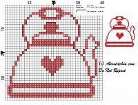 cross stitch pattern kettle monochrome - free cross stitch patterns by Alex Cross Stitch Kitchen, Mini Cross Stitch, Cross Stitch Borders, Cross Stitch Kits, Cross Stitch Designs, Cross Stitching, Cross Stitch Embroidery, Cross Stitch Patterns, Crochet Motifs