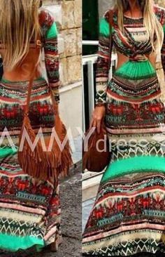 Bohemian Round Neck Long Sleeve Printed Cut Out Dress For Women