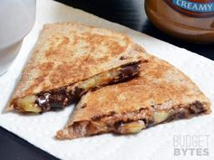 Peanut Butter Banana Quesadillas Recipe Lunch and Snacks, Desserts with whole wheat tortillas, natural peanut butter, bananas, semi-sweet chocolate morsels Breakfast Desayunos, Breakfast Recipes, Dessert Recipes, Breakfast Ideas, Quesadillas, Single Serve Desserts, Peanut Butter Banana, Almond Butter, Coconut Flour