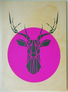 Stencil Art, Deer Head on Plywood, Origami Deer Original Art