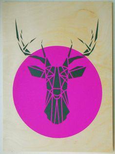 Stencil Art, Deer Head on Plywood, Origami Deer Original Art