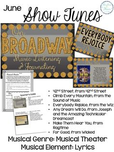 6 mini music listening lessons for grades 5 - 8; On Broadway