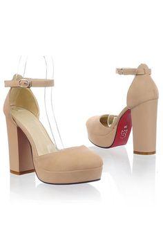 Round Close Toe Platform Chunky Heels
