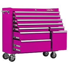 The Original Pink Box 41 Inch 9 Drawer 18G Steel Rolling Pink Tool Cabinet