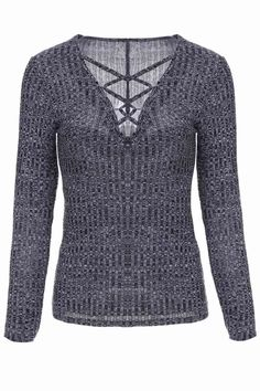 Gray Plunging Neck Long Sleeve Jumper #jewelry, #women, #men, #hats, #watches, #belts, #fashion