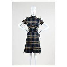 Pre-Owned Etro Nwt $2655 Navy Gold Tone Tweed Fringe Mock Turtleneck... ($805) ❤ liked on Polyvore featuring dresses, multi, plaid dress, white sleeve dress, navy dress, mock turtleneck dress and white a line dress