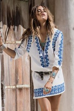 WHITE BOHEMIAN   Spell Designs   Santorini Tunic Dress   SHOP >> http://www.whitebohemian.com.au/collections/shop-fashion/products/spell-santorini-embroidered-tunic-dress-white