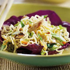 Asian-Style Chicken Salad | Midwest Living  A definite do again. Less oil (by 1/4 C). OK as warm dish too. Good for dinner or as a side to take to a party.