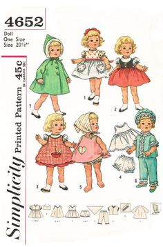 Simplicity 4652, 20 1/2 inch sewing pattern for dolls, for chatty cathy or others, reproduced pattern. wardrobes included are short puffed sleeved dress, dress with heart shaped pockets, dress with pinafore, panties, pajamas and cap, coat and hood.