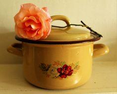 Olla de Cassarol de esmalte francés Vintage (pequeño)