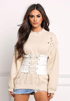 Ivory Lace Up Corset Belt - Tops - Clothes