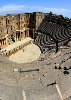Ancient Theater at Bosra, Syria -  built in the second quarter of the 2nd century CE. It is the largest, most complete  best preserved theatre of all the Roman theatres in the Middle East,  was one of the largest theatres ever constructed in the Roman world