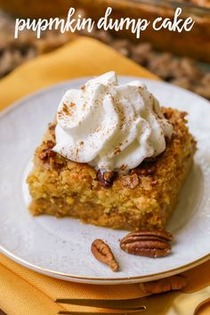 A delicious fall dessert, this Pumpkin Dump cake is simple, delicious and has all the fall flavors. Everyone loves this pumpkin recipe!