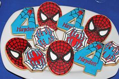 Cool cookies at a Spiderman birthday party! See more party planning ideas at CatchMyParty.com!