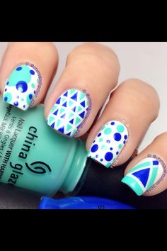 Some Geometric Fun. Striping Tape and Dotting tools. Polishes are @chinaglazeofficial Too Yacht To Handle and #sinfulcolors Endless Blue.