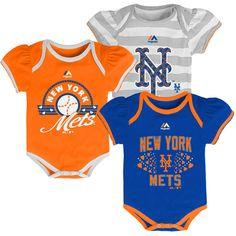 New York Mets Newborn Baby Girl's Triple Play 3-pk Bodysuit Creeper Set  | eBay