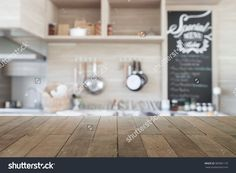Wood Table Top With Blur Kitchen Background , Empty Wooden Table For Product Display Stock Photo 383981176 : Shutterstock