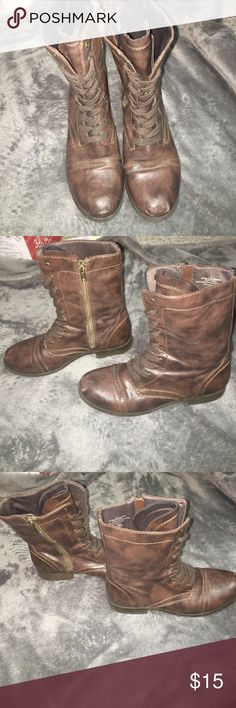 Brown combat boots Brown combat boots. Lightly worn Mossimo Supply Co. Shoes Combat & Moto Boots