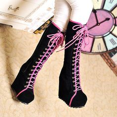 Fashion Womens Lace Up Punk Knee High Hidden Wedge Heel Boots Gothic Shoes 4.5-8