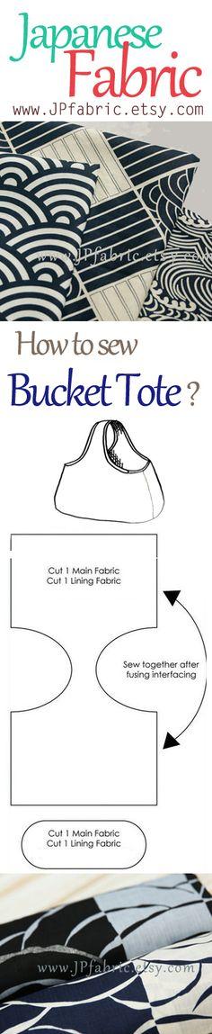 How to make tote bag? DIY bucket tote pattern. Handmade bag pattern