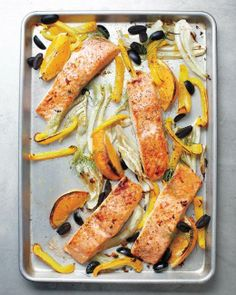 Sheet-Pan Suppers // Salmon with Fennel, Bell Pepper, and Olives Recipe