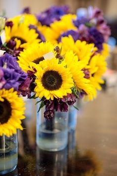 lavender and sunflower bouquet | Bouquets. Sunflowers and purple!!!