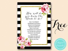 Items similar to How well do you know the bride to be, Black White Floral Bridal Shower Games, Unique Bridal Shower Games, Wedding Shower Games on Etsy Free Bridal Shower Games, Printable Bridal Shower Games, Wedding Shower Games, Bridal Shower Favors, Bridal Shower Flowers, Unique Bridal Shower, Gold Bridal Showers, Kate Spade Bridal, Black Stripes