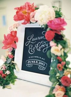 chalkboard style wedding welcome sign in a white frame on table
