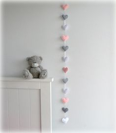 Verticle Heart garland - Pink, gray and white - felt hearts - nursery decor - birthday decor - custom made to match decor
