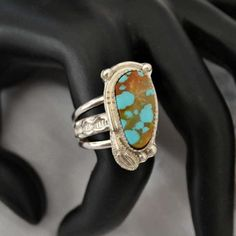 Turquoise ring in sterling silver.  No. 8 mine turquoise.  finished as a ring to size or as a pendant.  you choose by Untwistedsister on Etsy https://www.etsy.com/listing/502043358/turquoise-ring-in-sterling-silver-no-8