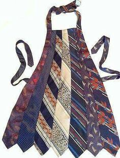 Apron made from old neck ties > I need to do this with all of my dad's old ties.he loved to cook Fabric Crafts, Sewing Crafts, Sewing Projects, Necktie Quilt, Old Ties, Old Neck Ties, Genius Ideas, Blog Couture, Sewing Aprons