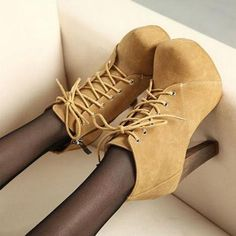 Chic Suede Lace Up High Hee..