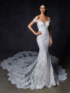 Shop our chic Enzoani Couture Wedding Dress and Bridal Gown Collection at Bridal Reflections. Contact us to schedule your private bridal appointment. Bride Gowns, Wedding Gowns, Bridal Dresses, Olive Wedding, Bridal Reflections, London Bride, Bridal Dress Design, Sophisticated Bride, Mermaid Gown