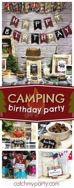 Check out this awesome Camping birthday party! The dessert table is so much fun!! See more party ideas and share yours at CatchMyParty.com #camping #campingparty