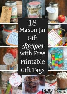 Need thoughtful, homemade, inexpensive gift ideas? Mason jar gift recipes make great DIY gifts for nearly everyone for most any occasion. Here are recipes for Friendship Bean Soup, Reese's Pieces Cookies, Raspberry Brownies, a Mani Pedi in a Jar and more, plus you'll find free printable gift tags to help make gift giving even easier. Gifts in a jar are especially perfect for teachers, friends, neighbors, babysitters, and mail people.