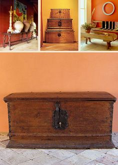 Hacienda Style : MEXICAN ANTIQUES Mexican Antique Furniture, Spanish Colonial Trunks, Benches