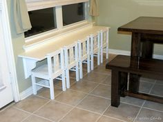 Desk idea for school room if we have to leave the baseboard heating.