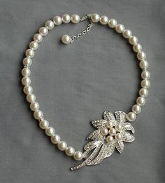 Bridal Pearl Rhinestone Necklace Crystal Wedding by LXdesigns, $45.00