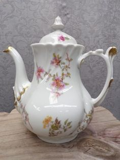 POUYAT LIMOGES COFFEE POT * circa 1925 * antique French Limoges porcelain floral decor coffee pot with lid * 9.5 tall x 9 in diameter * Jean Pouyat Limoges France was made from 1890 to 1932 * SHIPPI