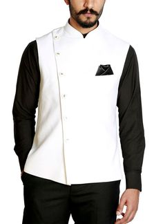 Shop White Self Design Waistcoat from RJ Fusion & Threads   Poly Viscose . RJ Fusion & Threads is a passion project to bring clothing that is not only