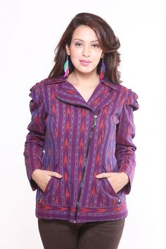 Purple Cotton Ikat Jacket  This Ikat jacket is mildly quilted; can be made without quilting as well to give a Kurta look. Can be teamed up over jeans, leggings, skirts, dhotis and salwars.  Price: Rs.3500/- Product Code: CT/EC/JK02 Available @ www.curiotown.com