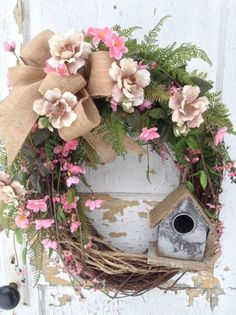 Spring Wreath for Door, Rustic Wreath with Birdhouse, Pink Woodsy Wreath, Spring Decor, Rustic Decor, Designer Wreath, FlowerPowerOhio by FlowerPowerOhio on Etsy https://www.etsy.com/listing/219429111/spring-wreath-for-door-rustic-wreath